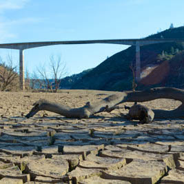 California Drought Under New Melones Bridge on Dry Lakebed
